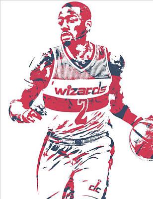 Washington Wizards Wall Art - Mixed Media - John Wall Washington Wizards Pixel Art 30 by Joe Hamilton