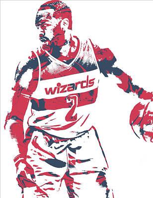 Washington Wizards Wall Art - Mixed Media - John Wall Washington Wizards Pixel Art 31 by Joe Hamilton