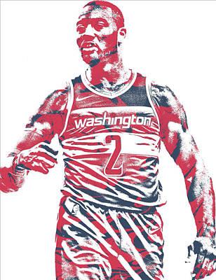 Washington Wizards Wall Art - Mixed Media - John Wall Washington Wizards Pixel Art 35 by Joe Hamilton
