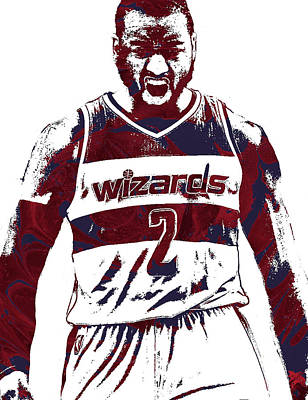 Team Mixed Media - John Wall Washington Wizards Pixel Art 5 by Joe Hamilton