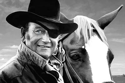 True Grit Mixed Media - John Wayne @ True Grit #1 by Gabriel T Toro