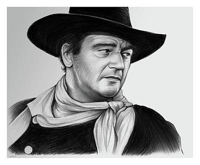 Drawing - John Wayne 29jul17 by Greg Joens