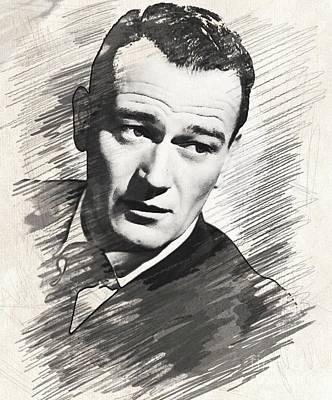 Musicians Drawings - John Wayne, Actor by John Springfield