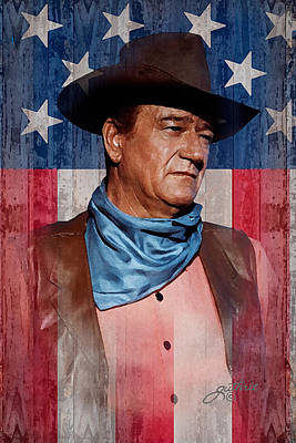 Duke Wall Art - Mixed Media - John Wayne Americas Cowboy by John Guthrie