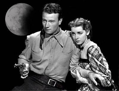 Manipulation Photograph - John Wayne And Marsha Hunt by EricaMaxine Price