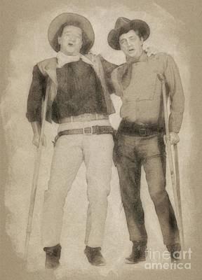 Musicians Drawings - John Wayne and Robert Mitchum by John Springfield by Esoterica Art Agency