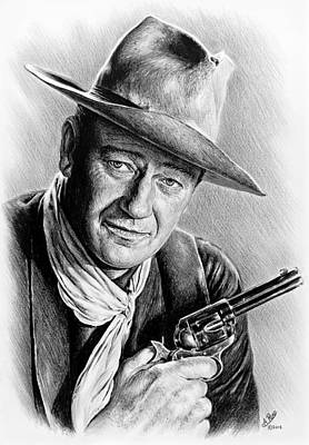 Movie Stars Drawings Drawing - John Wayne  by Andrew Read