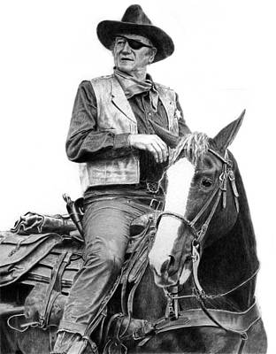 Rooster Cogburn Drawing - John Wayne As Rooster Cogburn by Ronny Hart