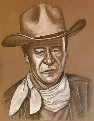 Mixed Media - John Wayne by Bern Miller