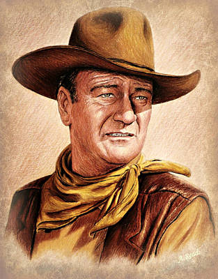 Cowboy Hat Drawing - John Wayne Colour Version by Andrew Read