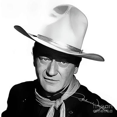 John Wayne Cowboy Art With Autograph Art Print by Kjc