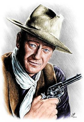 Drawing - John Wayne Edit Bwb by Andrew Read