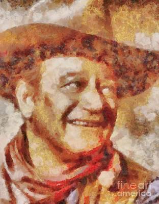John Wayne Painting - John Wayne Hollywood Actor by Sarah Kirk