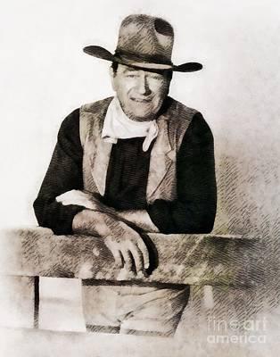 John Wayne Painting - John Wayne, Hollywood Legend By John Springfield by John Springfield