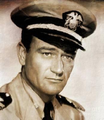 John Wayne Painting - John Wayne, Hollywood Legend By Mary Bassett by Mary Bassett