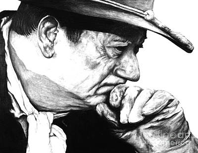 John Wayne Drawings Drawing - John Wayne  by Jeff Maurer