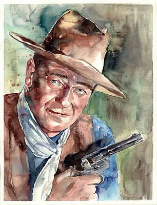 Traditional-modern Contemporary Painting - John Wayne Portrait by Suzann's Art