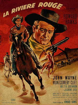 John Wayne Mixed Media - John Wayne Red River French Version Vintage Classic Western Movie Poster by Design Turnpike