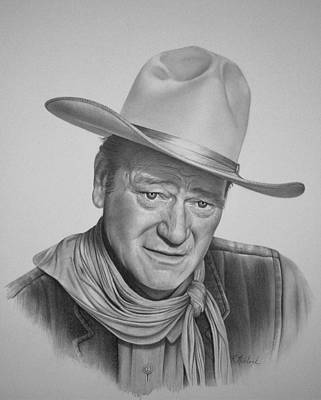 John Wayne Drawings Drawing - John Wayne by Rita Niblock