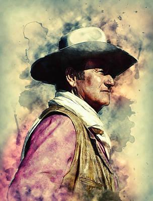 Old West Digital Art - John Wayne by Taylan Apukovska