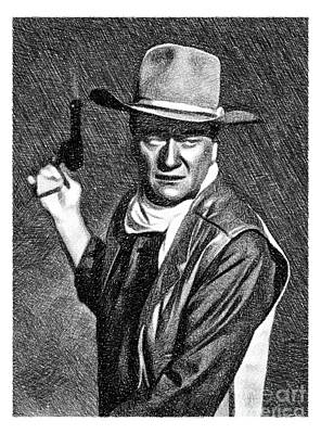 Musicians Drawings Rights Managed Images - John Wayne, Vintage Actor by JS Royalty-Free Image by Esoterica Art Agency