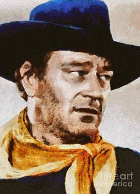 Elvis Presley Painting - John Wayne, Vintage Hollywood Actor by Mary Bassett
