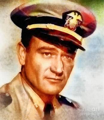 John Wayne Painting - John Wayne, Vintage Hollywood Legend by Frank Falcon