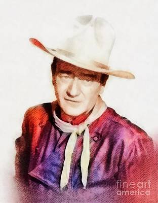Musicians Royalty Free Images - John Wayne, Vintage Hollywood Legend Royalty-Free Image by Esoterica Art Agency