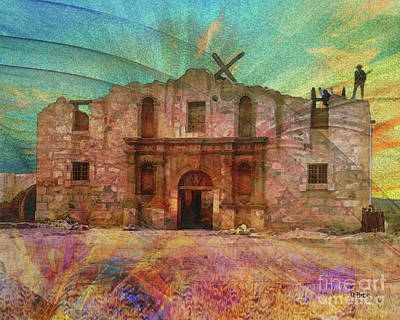 Digital Art - John Wayne's Alamo by John Robert Beck
