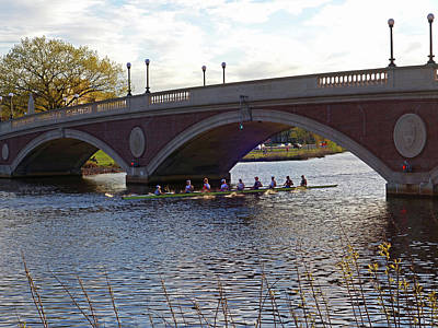 Photograph - John Weeks Bridge Harvard Square Chales River Sunset Rowers by Toby McGuire