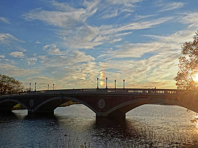 Photograph - John Weeks Bridge Harvard Square Chales River Sunset Sunspot by Toby McGuire