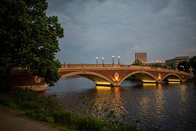Photograph - John Weeks Bridge Harvard Square Chales River Sunset Trees 2 by Toby McGuire