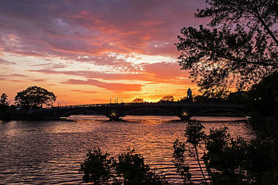Photograph - John Weeks Bridge Harvard Square Chales River Sunset Trees by Toby McGuire