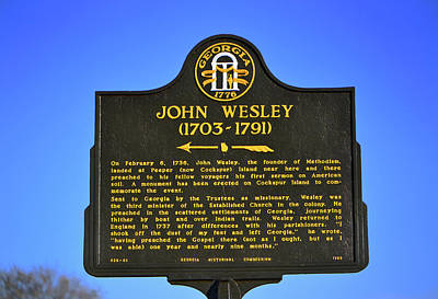 Photograph - John Wesley Historical Marker - Fort Pulaski 001 by George Bostian