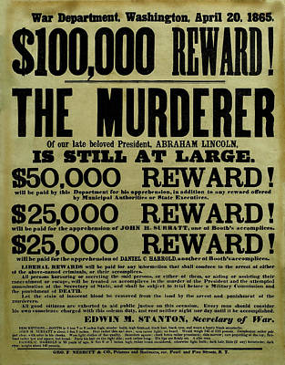 Landmarks Mixed Media Royalty Free Images - John Wilkes Booth Wanted Poster Royalty-Free Image by War Is Hell Store