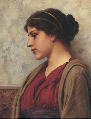Rhythm And Blues Painting - John William Godward, R.b.a. 1861-1922 A Classical Beauty, Far-away Thoughts by Celestial Images