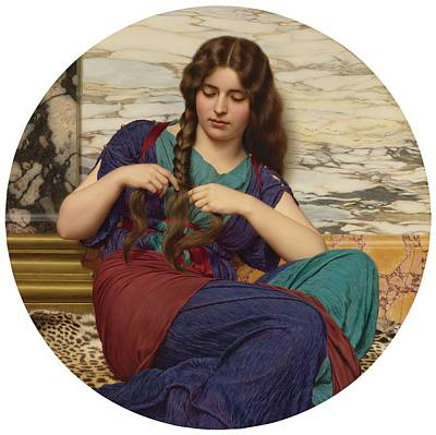 Rhythm And Blues Painting - John William Godward, R.b.a. 1861-1922 British,  A Congenial Task by Celestial Images
