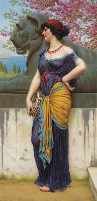 Music Paintings - John William Godward, R.B.A. 1861-1922 IN THE GROVE OF THE TEMPLE OF ISIS by John William Godward