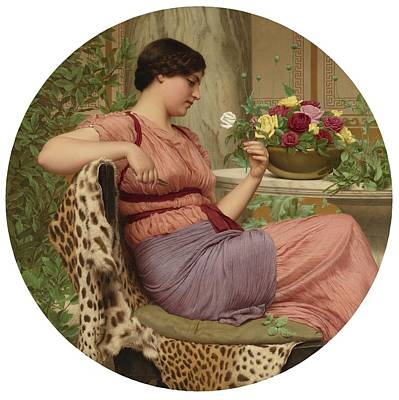 Rhythm And Blues Painting - John William Godward, R.b.a. 1861-1922   The Time Of Roses by Celestial Images