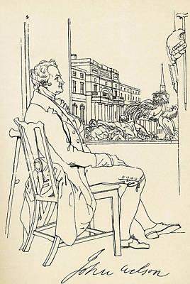 Autographed Drawing - John Wilson Of Ellerey, Psuedonym by Vintage Design Pics