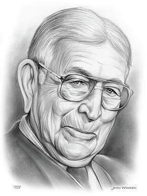 Drawings - John Wooden by Greg Joens