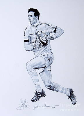 Drawing - Johan Goosen Playing Rugby by Cheryl Poland
