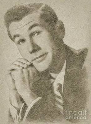 Classic Portrait Drawing - Johnny Carson, Entertainer by Frank Falcon