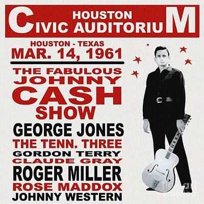 Claude Mixed Media - Johnny Cash In Houston by Pd