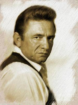Actors Royalty-Free and Rights-Managed Images - Johnny Cash by Mary Bassett