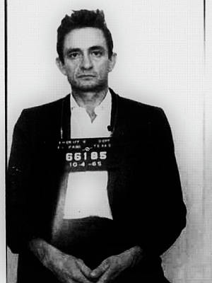 Painting - Johnny Cash Mug Shot Country Music Fan Mugshot by Tony Rubino