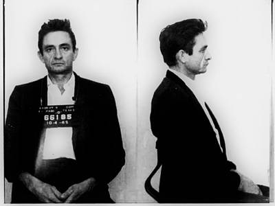 Actors Royalty Free Images - Johnny Cash Mug Shot Horizontal Royalty-Free Image by Tony Rubino