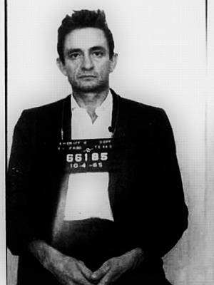 Police Art Painting - Johnny Cash Mug Shot Vertical by Tony Rubino