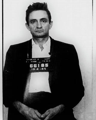 Photograph - Johnny Cash Mug Shot Vertical Wide 16 By 20 by Tony Rubino