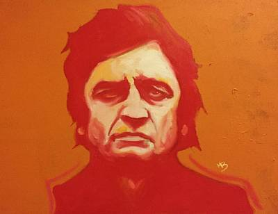 Painting - Johnny Cash Orange by Matt Burke